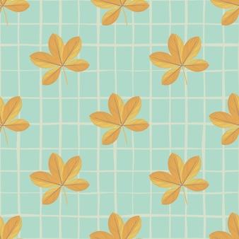 落書きオレンジ シェフラー花飾りのシームレス パターン