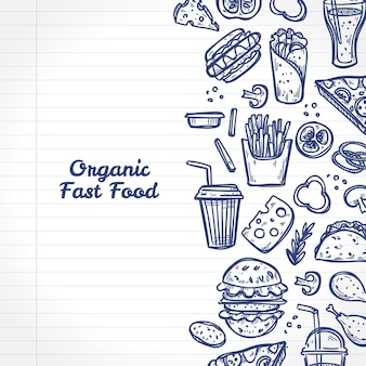Doodle organic fast food elements on a notebook page. hand drawn style