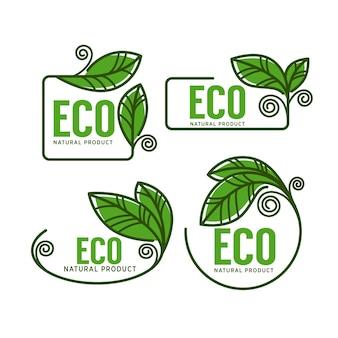 Doodle organic leaves labels