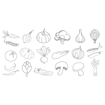 Doodle outline vegetables icon collection vector illustration for icon logo print card
