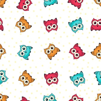 Doodle owl seamless pattern
