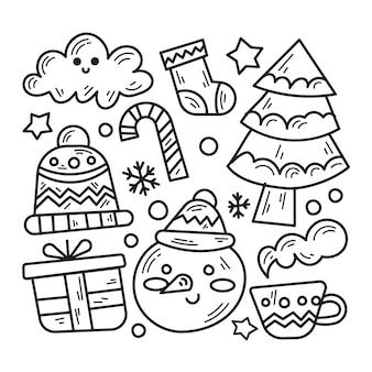 冬のテーマイラストの落書きパック
