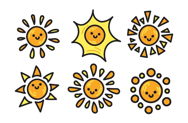 Doodle pack of sunshine illustration