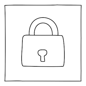 Doodle 자물쇠 아이콘 또는 로고, 얇은 검은색 선으로 손으로 그린 흰색 배경에 고립 된 그래픽 디자인 요소입니다. 벡터 일러스트 레이 션
