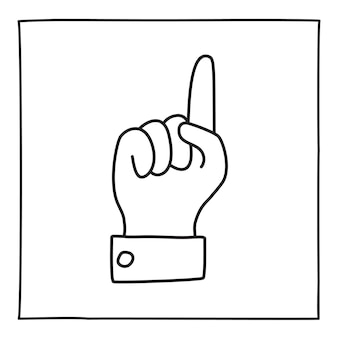 Doodle palm with finger pointing up hand drawn gesture symbol in line art style. vector illustration
