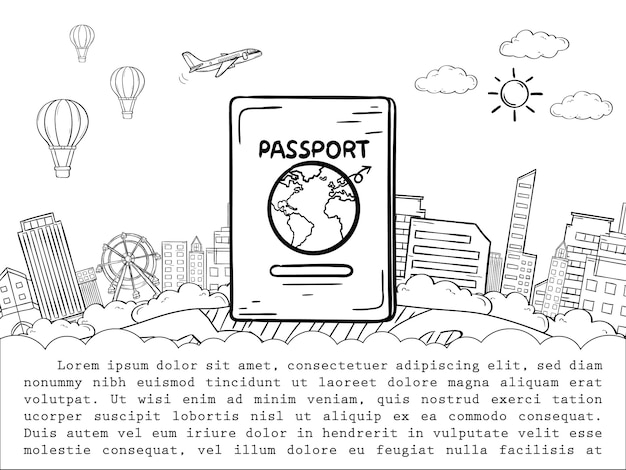Doodle passport and airplane check in point travel around the world concept