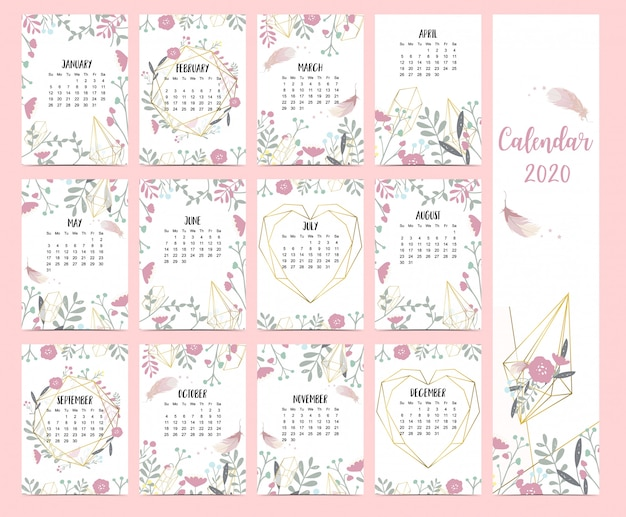 Doodle pastel boho calendar set 2020 with feather
