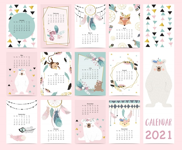 Doodle pastel boho calendar set 2021 with feather,gold geometric,bear,dreamcatcher for children.can be used for printable graphic.editable element