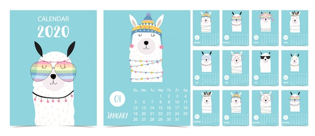 Doodle pastel calendar set 2020 with llama for children