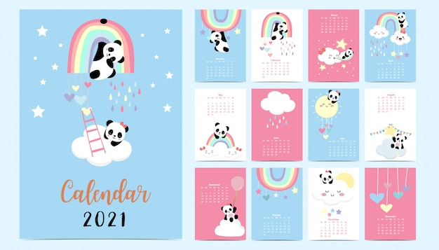 Doodle pastel calendar set 2021 with panda,rainbow,sun for children.can be used for printable graphic