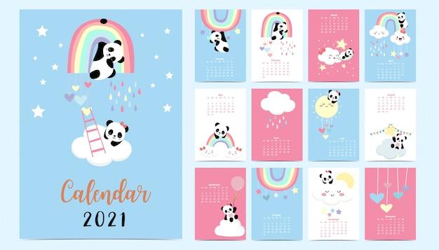 팬더, 무지개, 어린이를위한 태양이있는 낙서 파스텔 캘린더 세트 2021. 인쇄용 그래픽에 사용할 수 있습니다.