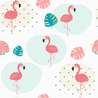 Doodle pastel tropical summer leafs and pink flamingo