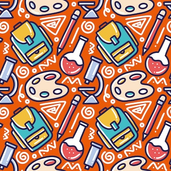 Doodle pattern of chemistry hand drawing with icons and design elements