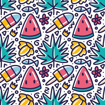 Doodle pattern of fresh menu at summer time hand drawing  with icons and design elements