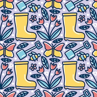 Doodle pattern of gardening time hand drawing with icons and design elements