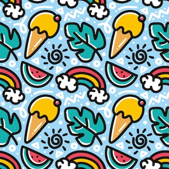 Doodle pattern of hand drawn ice cream and, fruit with icons and design elements