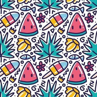 Каракули шаблон свежего меню в летнее время рука рисунок с иконами и элементами дизайна