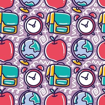 Каракули шаблон школьного рисования с иконами и элементами дизайна