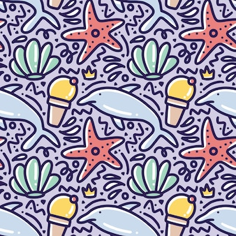 아이콘 및 디자인 요소와 바다 동물 손 그리기의 낙서 패턴
