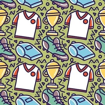 아이콘 및 디자인 요소와 함께 그리기 축구 손의 낙서 패턴
