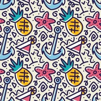 Каракули шаблон летнего отдыха рука рисунок с иконами и элементами дизайна