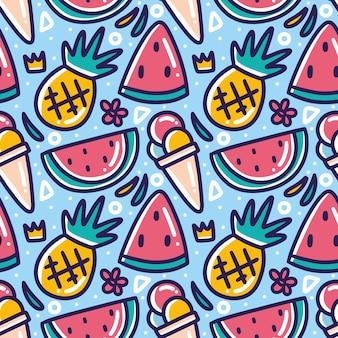 아이콘 및 디자인 요소와 함께 그리기 여름 휴가 손의 낙서 패턴