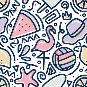 アイコンとデザイン要素で夏の休日の手描きの落書きパターン