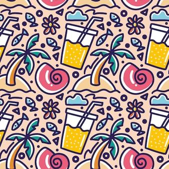 아이콘 및 디자인 요소로 그리기 해변 손에 여름 휴가의 낙서 패턴