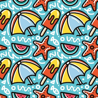 Каракули шаблон летнего отдыха на пляже рука рисунок с иконами и элементами дизайна