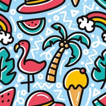 アイコンとデザイン要素で手描きのビーチで夏休みの落書きパターン