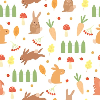 Doodle pattern rabbits and vegetable garden