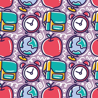 Doodle pattern of school hand drawing with icons and design elements