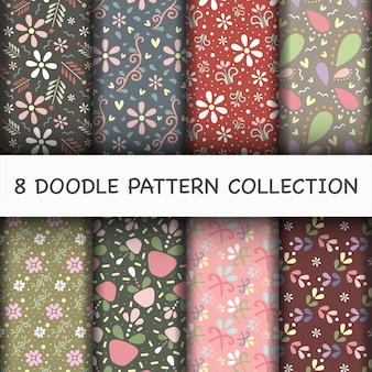 Doodle pattern set with flower