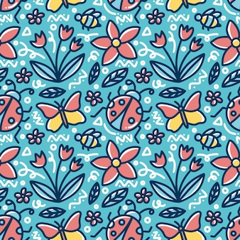 Doodle pattern of spring hand drawing with icons and design elements