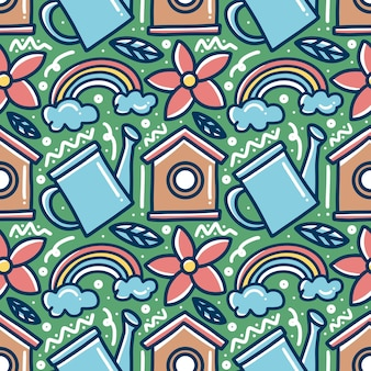 Doodle pattern of spring time hand drawing with icons and design elements