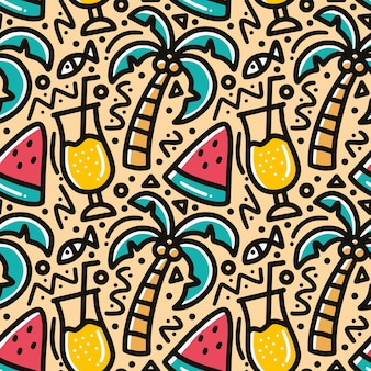 Doodle pattern of summer holiday on the beach hand drawing with icons and design elements