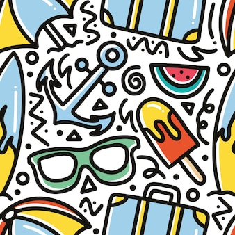 Doodle pattern of summer holiday hand drawing with icons and design elements