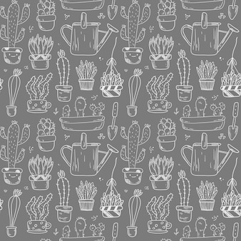 Doodle pattern with plants in pots. stickers gardening and home