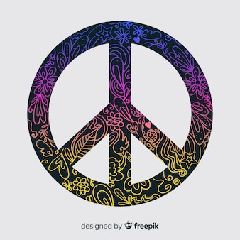 Doodle peace sign background