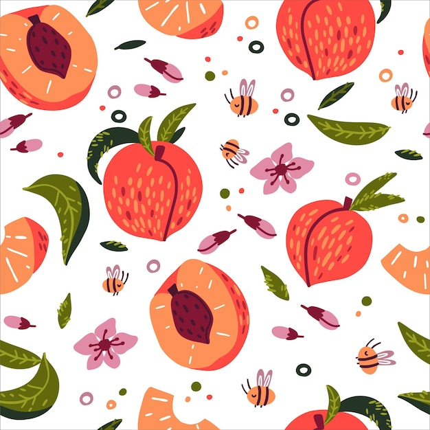 Doodle peach flowers leaves bees vector seamless pattern h