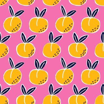 桃のシームレスなパターンを落書き。キッチンの壁紙、テキスタイル、ファブリック、紙のかわいいピンクの背景テクスチャ。フラットフルーツの背景。ビーガン、農場、自然食品のイラスト