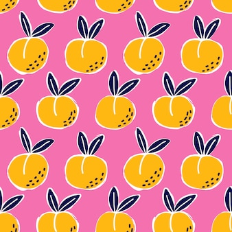 Doodle peach seamless pattern. cute pink background texture for kitchen wallpaper, textile, fabric, paper. flat fruits background. vegan, farm, natural food illustration
