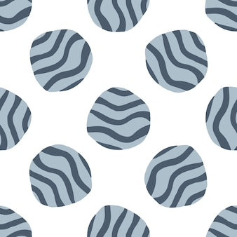 Doodle pebble seamless pattern on white background. hand drawn stones wallpaper