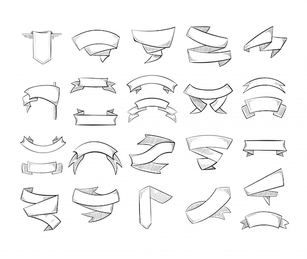 Doodle pencil drawing vector banners and ribbons