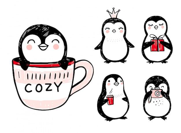 Каракули пингвинов, рисованной набор забавных животных. пингвин персонаж в стиле эскиза.
