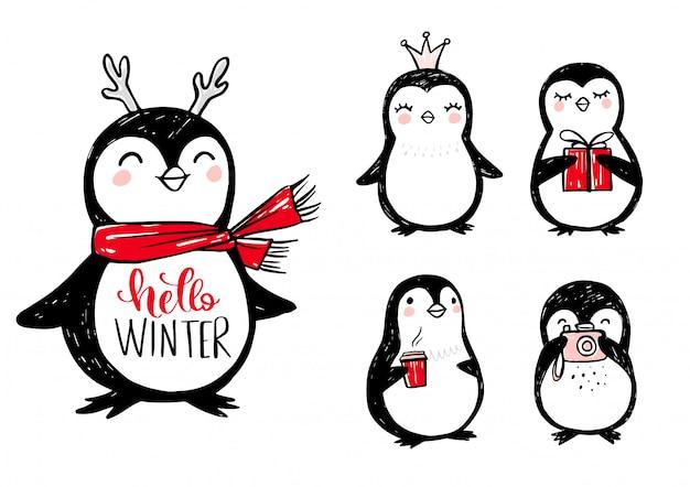 Каракули пингвинов с красным шарфом, рогами, подарочной коробкой, кофе, короной принцессы и фотоаппаратом.