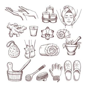 휴식 또는 마사지 스파 살롱을 위해 설정된 낙서 그림. 아로마 테라피 삽화. 웰빙과 휴식을위한 아로마 테라피 및 스파