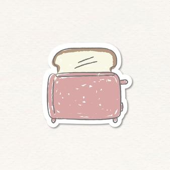 Adesivo per tostapane con pane rosa doodle