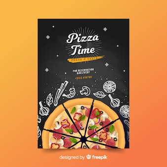 Doodle pizza poster template