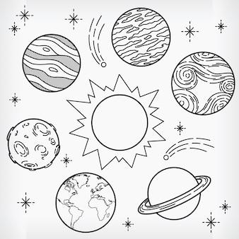 Каракули планеты рисованной эскиз солнечной системы